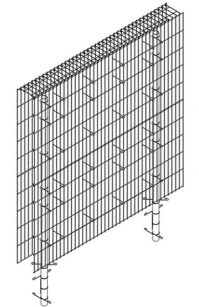 Gabionenzaun Korb m. Pfosten, Erweiterung, Masche 2,5x10 cm, 23 cm Tiefe, 200 cm Länge, 200 cm Höhe